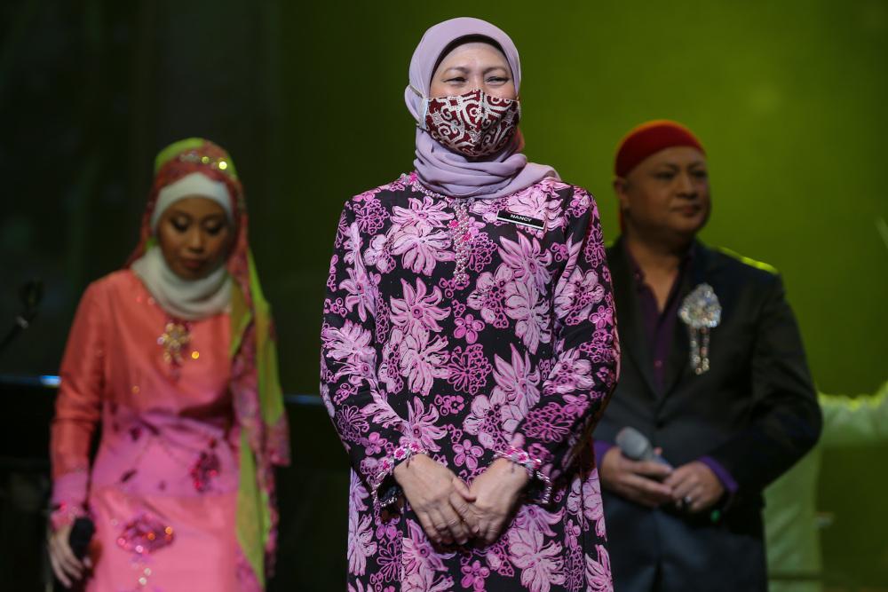 Minister of Tourism, Arts and Culture Datuk Seri Nancy Shukri is pictured at Istana Budaya March 31, 2021. — Picture by Ahmad Zamzahuri
