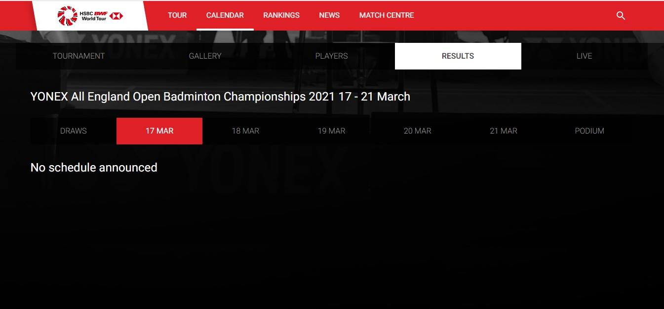世羽联直至截稿前仍未发布周三(17日)的赛程。-世羽联官网截图-