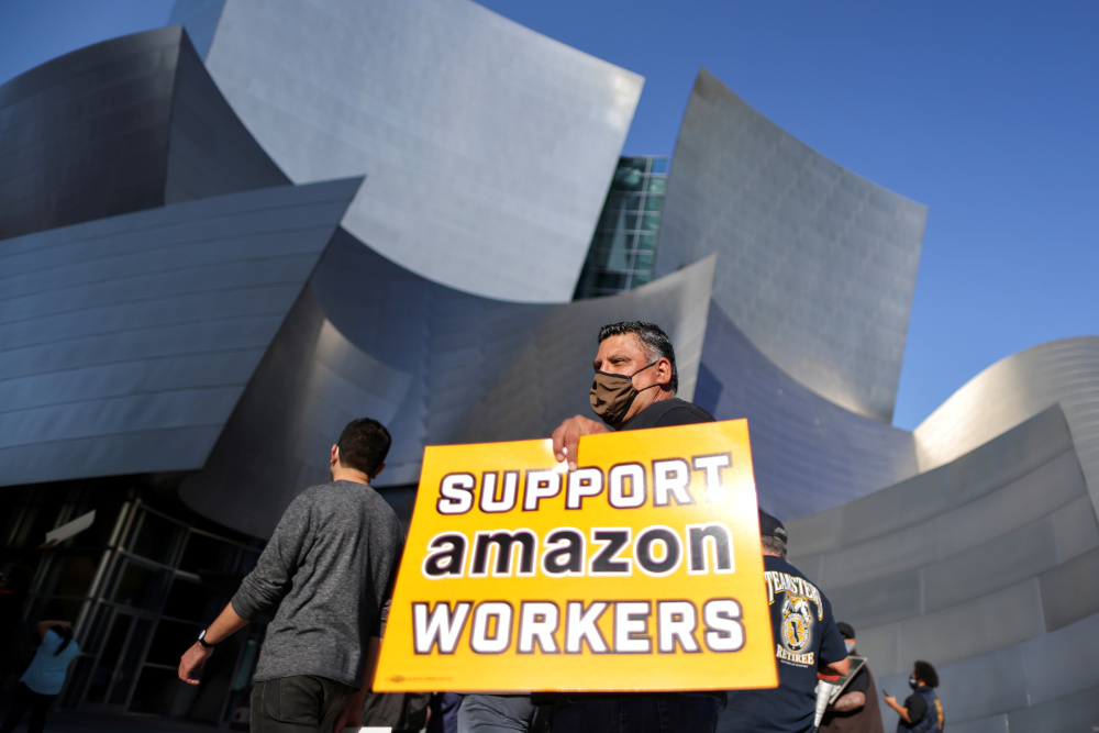 People protest in support of the unionising efforts of the Alabama Amazon workers, in Los Angeles March 22, 2021. — Reuters pic