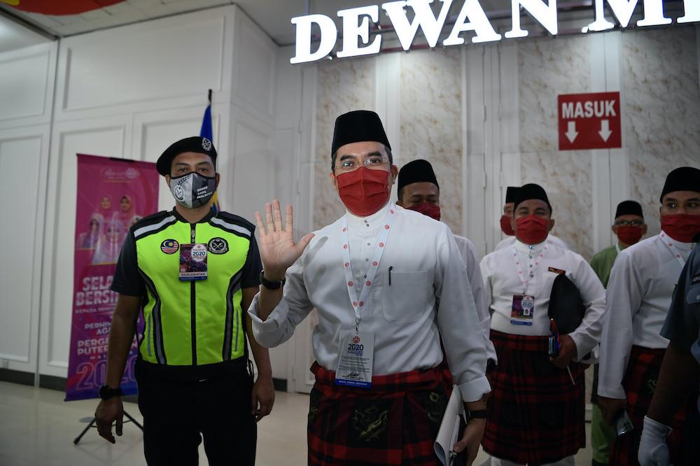 Umno Youth chief Datuk Dr Asyraf Wajdi Dusuki at the Umno General Assembly in Kuala Lumpur, March 27, 2021. — Bernama pic