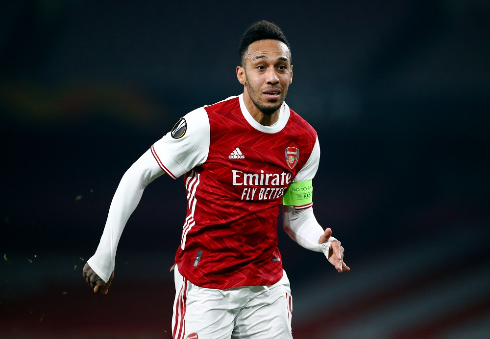 Arsenal's Pierre-Emerick Aubameyang in action during the match against Olympiakos March 19, 2021. ― Reuters pic