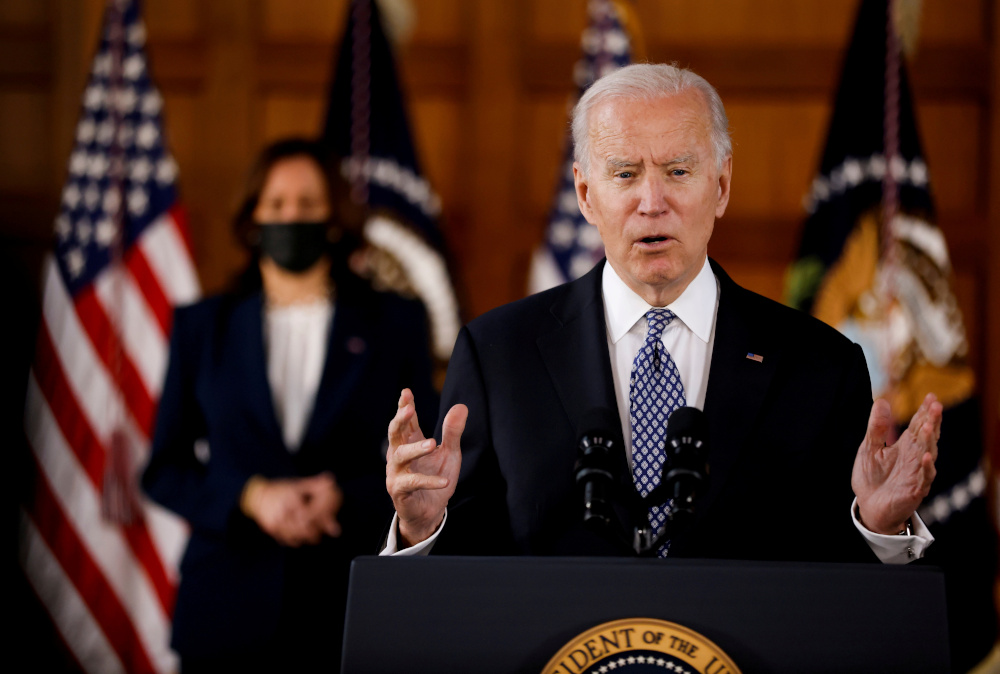 US President Joe Biden and Vice President Kamala Harris deliver remarks after meeting with Asian-American leaders to discuss 'the ongoing attacks and threats against the community,' during a stop at Emory University in Atlanta, Georgia, US, March 19, 2021. — Reuters pic