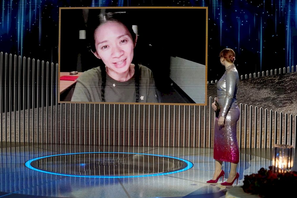 Chloe Zhao accepts the Best Director - Motion Picture award for 'Nomadland,' via video in this handout photo from the 78th Annual Golden Globe Awards in New York, New York State, February 28, 2021. — Peter Kramer/NBC Handout pic via Reuters