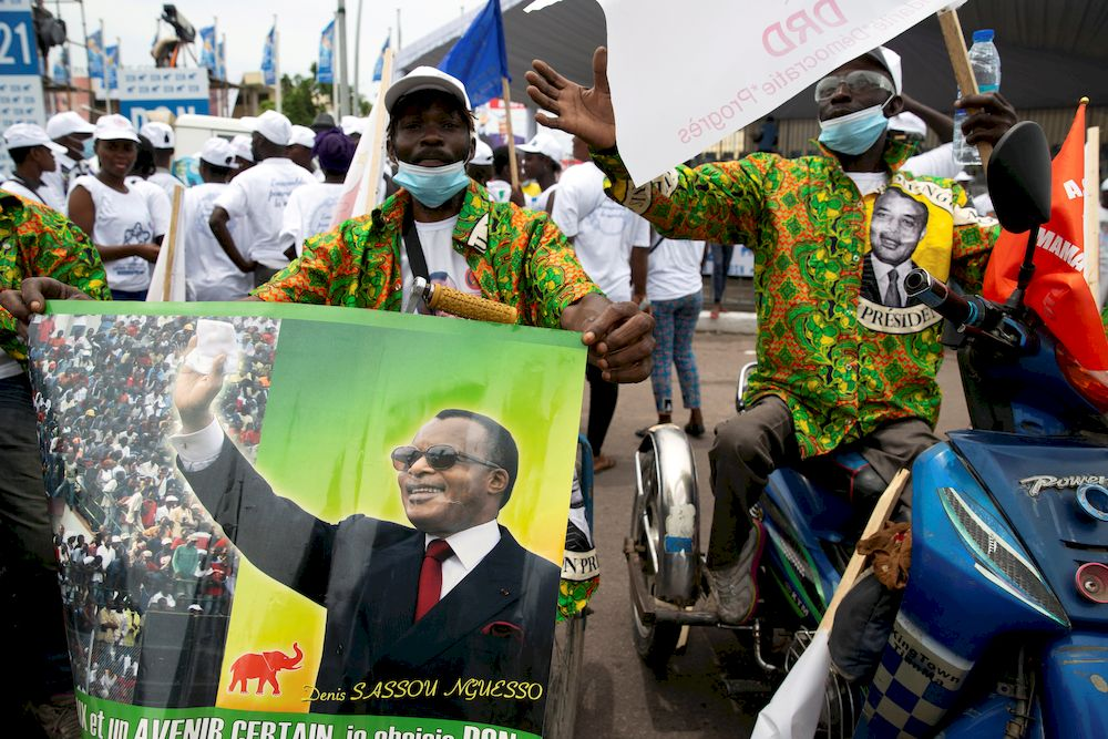 Supporters attend a rally in support of the re-election of President Denis Sassou Nguesso, in Brazzaville, Republic of Congo March 19, 2021. — Reuters pic
