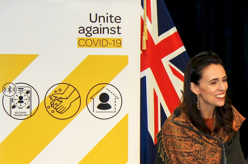 New Zealand's Prime Minister Jacinda Ardern speaks at a news conference on the coronavirus disease (Covid-19) pandemic in Wellington, New Zealand, February 17, 2021. — Reuters pic