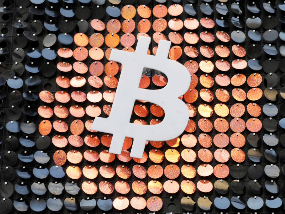 The logo of the Bitcoin digital currency is seen in a shop in Marseille, France, February 7, 2021. — Reuters pic