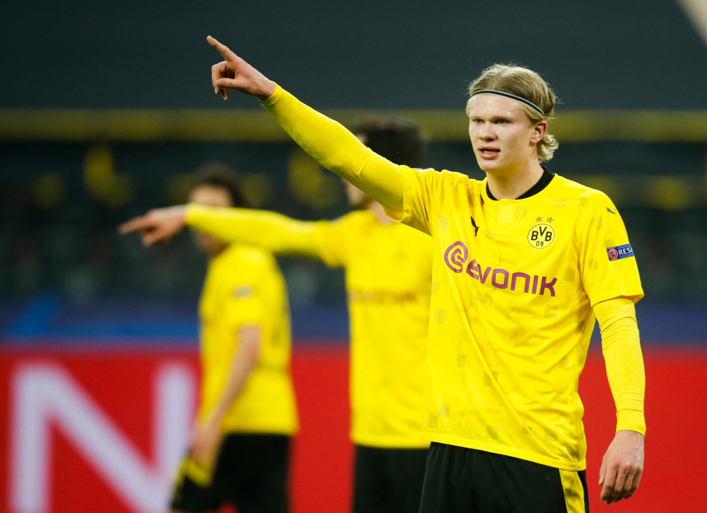 Dortmund forward Erling Braut Haaland reacts during the Uefa Champions League, Last-16 2nd-Leg football match BVB Borussia Dortmund v Sevilla FC at the Signal Iduna stadium in Dortmund, western Germany March 9, 2021. — AFP pic