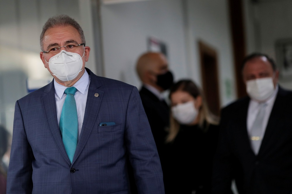 Brazilian cardiologist Marcelo Queiroga, who was named by Brazil's President Jair Bolsonaro as the country's fourth Health Minister since the coronavirus pandemic began, wears a protective mask, at the Health Ministry headquarters in Brasilia, Brazil March 16, 2021. ― Reuters pic