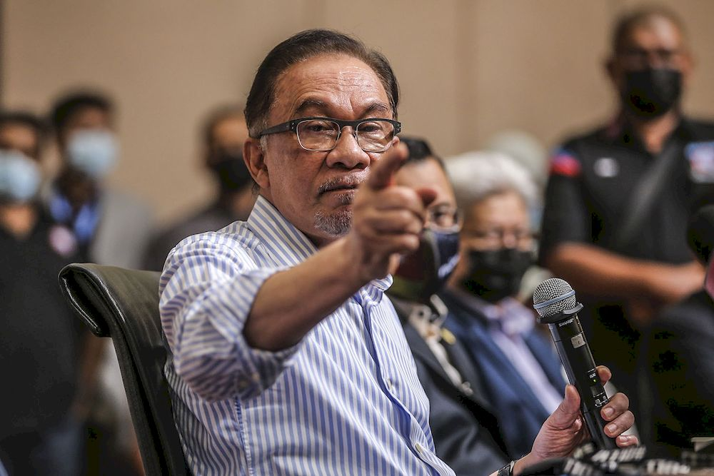 PKR president Datuk Seri Anwar Ibrahim speaks during a press conference at the Eastin Hotel in Petaling Jaya, March 16, 2021. ― Picture by Hari Anggara