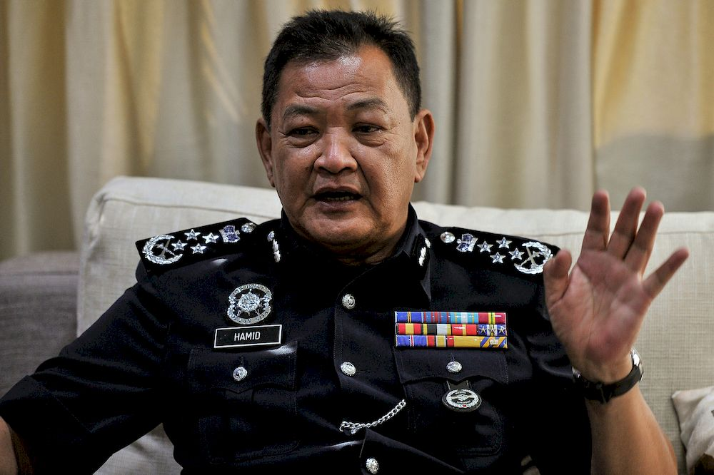 Inspector-General of Police Tan Sri Abdul Hamid Bador is pictured during an interview with the Malaysian National News Agency at Wisma Bernama, March 15, 2021. — Bernama pic