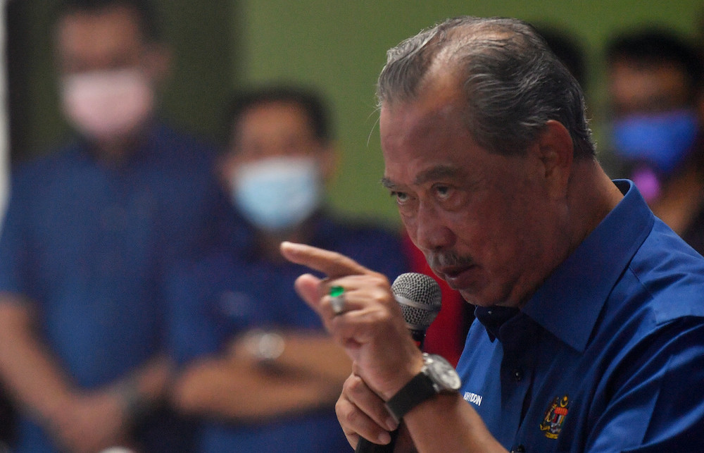 Tan Sri Muhyiddin Yassin at an event in Sungai Terap in Johor, March 27, 2021. — Bernama pic