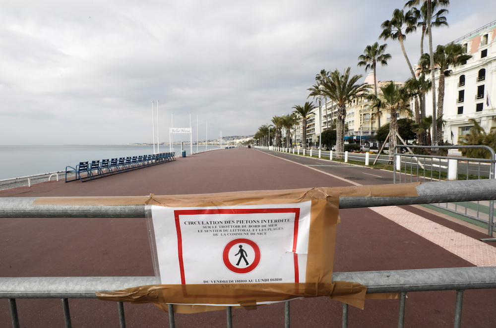 A view shows a sign reading 'Pedestrian traffic prohibited' on a closed Promenade des Anglais during the second local weekend lockdown imposed to slow the rate of the coronavirus disease contagion in Nice, France, March 6, 2021. — Reuters pic