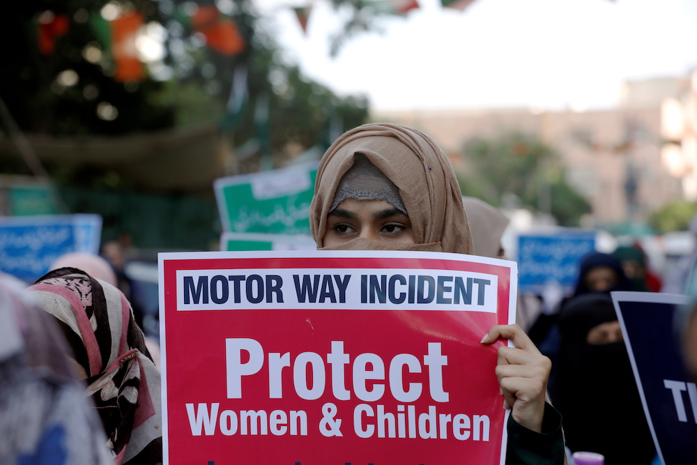 A supporter of religious and political party Jamaat-e-Islami carries a sign against a gang rape that occurred along a highway, and to condemn the violence against women and girls, during a demonstration in Karachi, Pakistan September 11, 2020. ― Reuters