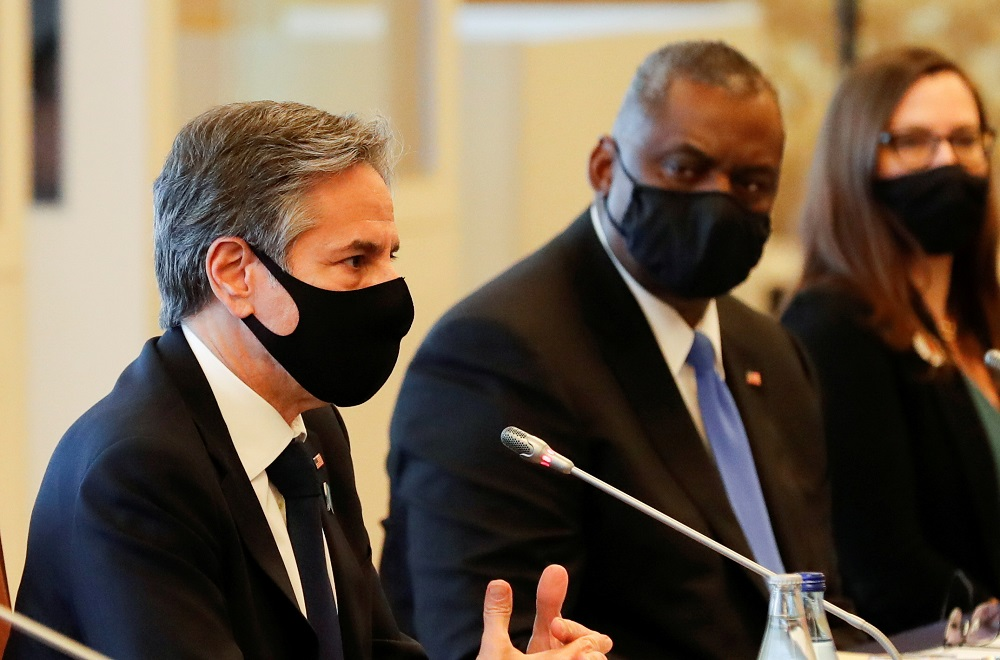US Secretary of State Antony Blinken and US Defense Secretary Lloyd Austin attend the 2+2 Meeting at Iikura Guest House in Tokyo March 16, 2021. ― Reuters pic