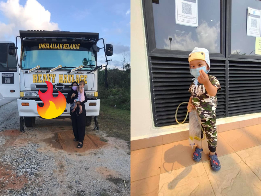 Three-year-old Abid wishes of seeing a 'Tenonet' lorry came true after a group of Malaysian truckers came to his aid. — Picture via Facebook/Nur Lydia Rose Hafieza