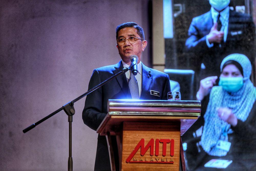 Minister of International Trade and Industry (Miti) Datuk Seri Azmin Ali addresses staff during the monthly assembly at Menara Miti, Kuala Lumpur March 10, 2021. — Picture by Ahmad Zamzahuri