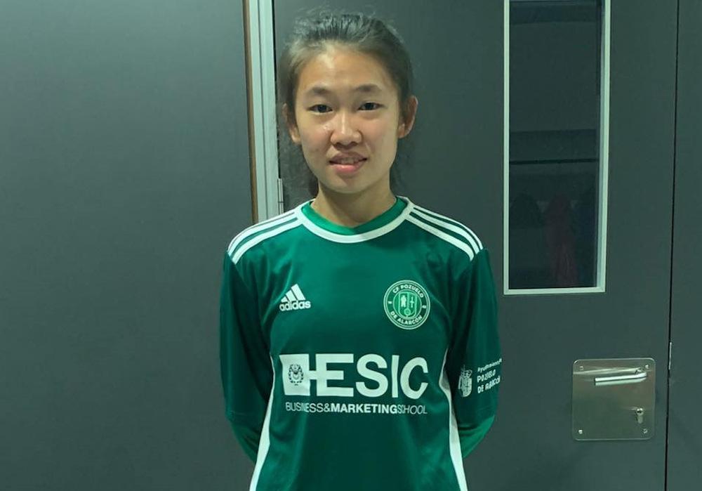 Berlin Leong juega en el segundo equipo femenino del CF Posuvelo en España.  - Imagen vía Facebook / Berlin Leong