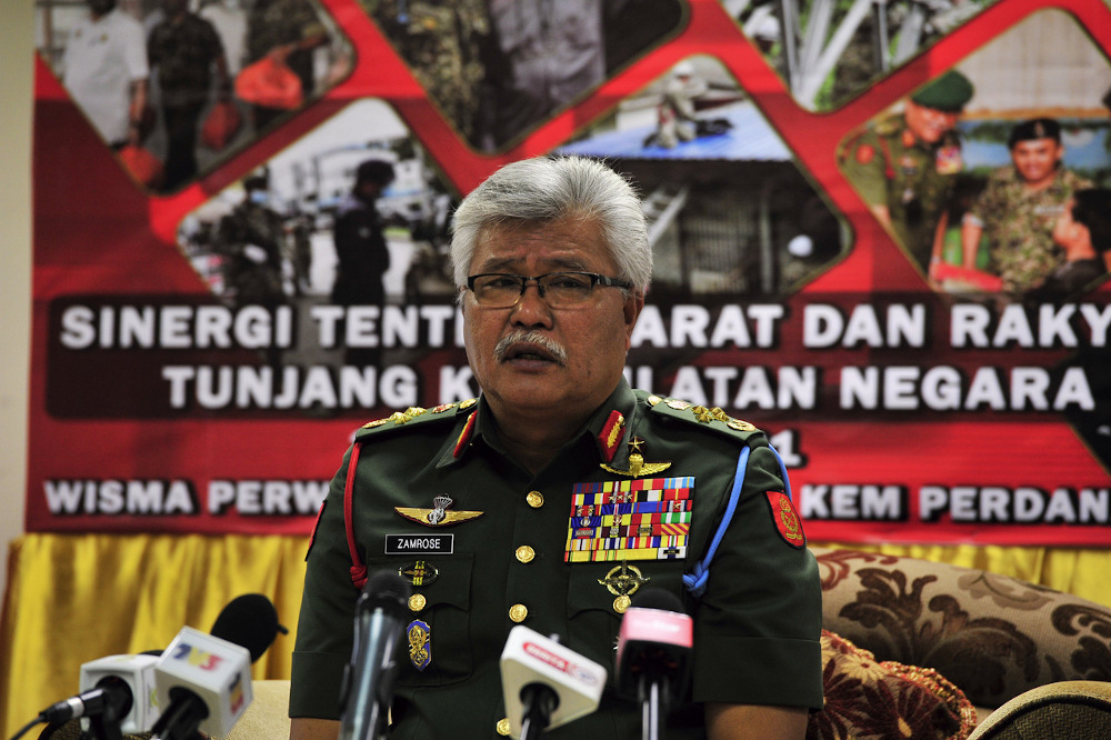 Army Commander General Tan Sri Zamrose Mohd Zain speaks during an exclusive interview in conjunction with the 88th Army Day at Kem Perdana Sungai Besi March 1, 2021. — Bernama pic