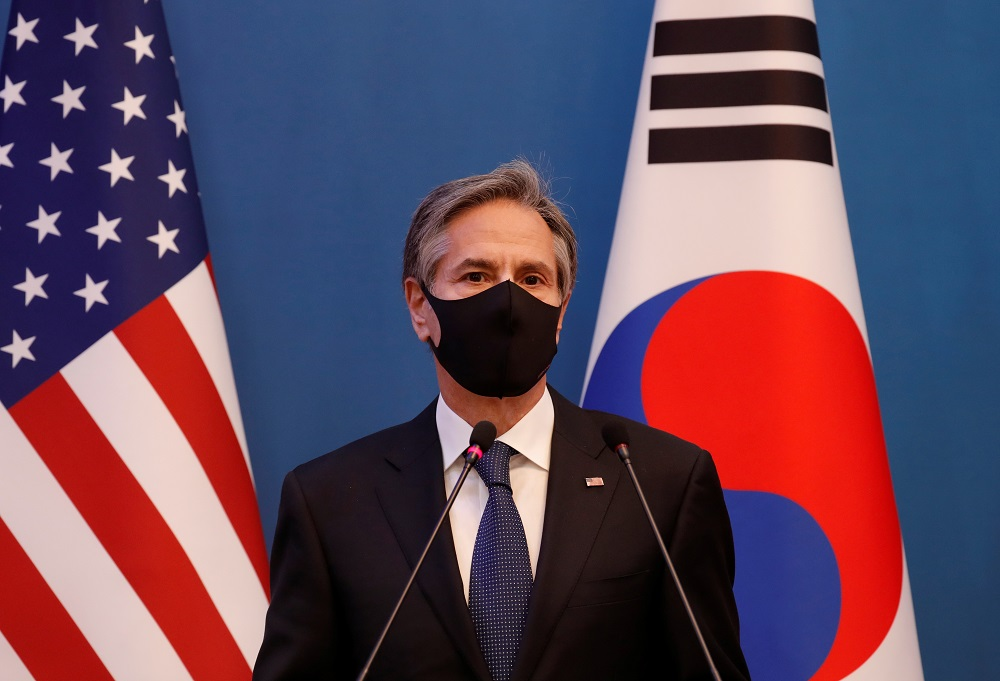 US Secretary of State Antony Blinken speaks during a joint news conference after the Foreign and Defence Ministerial meeting between South Korea and the US at the Foreign Ministry in Seoul March 18, 2021. ― Pool via Reuters