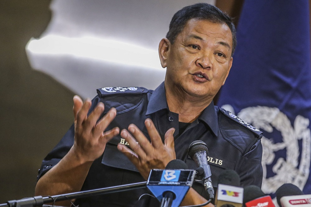 Inspector-General of Police Tan Sri Abdul Hamid Bador speaks during a press conference at the Bukit Aman headquarters in Kuala Lumpur March 23, 2021. ― Photo by Hari Anggara