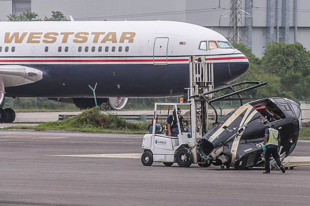 On March 24, two people were injured and three others escaped unhurt when the Airbus AS350 B3 helicopter they were travelling in crashed at Sultan Abdul Aziz Airport in Subang. ― Picture by Hari Anggara