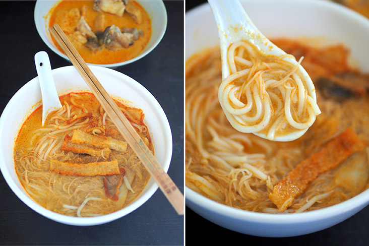 The curry 'mee' has a fragrant broth that you will drink to the last drop (left). This place offers 'lai fun' noodles that works well with the curry broth (right)