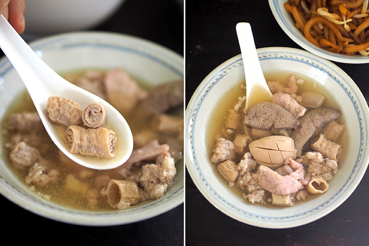 They also serve pig's intestines that has multiple layers (left). Your pork noodles is served with a generous portion of mince, pork slices, pig's kidney and liver (right).
