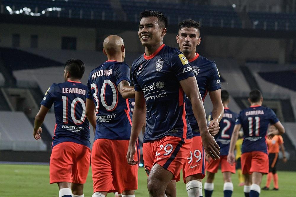 JDT's Muhammad Safawi Rasid celebrates after scoring a goal against Kedah Darul Aman FC at Stadium Sultan Ibrahim in Iskandar Puteri March 5, 2021. ― Bernama pic