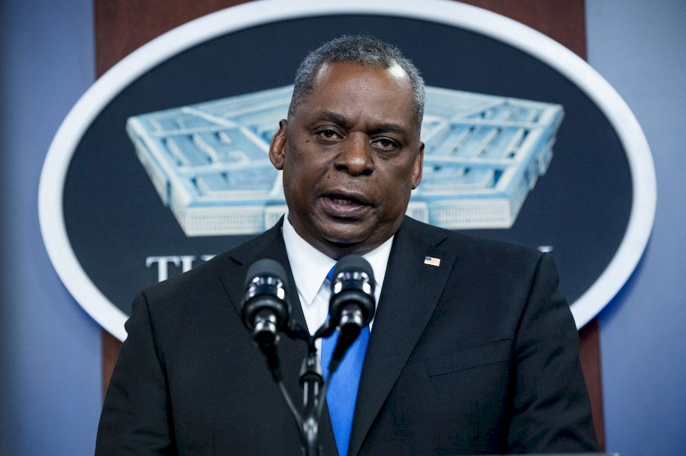 In this file photo Secretary of Defence Lloyd Austin speaks during a visit by US President Joe Biden to the Pentagon in Washington, DC, February 10, 2021. — AFP pic