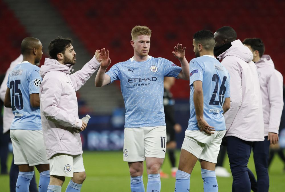 Manchester City's Kevin De Bruyne celebrates after the match against Borussia Moenchengladbach at the Puskas Arena, Budapest March 16, 2021. — Reuters pic