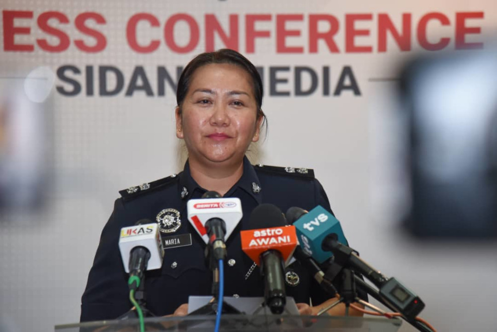 Supt Maria anak Rasid says the female government servant made 20 transactions to transfer the over RM200,000 to the accounts of the bogus doctor, March 24, 2021. — Picture courtesy of Information Department