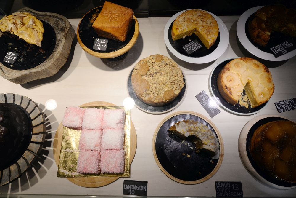 There are about 20 different types of baked desserts and cakes on offer each day.