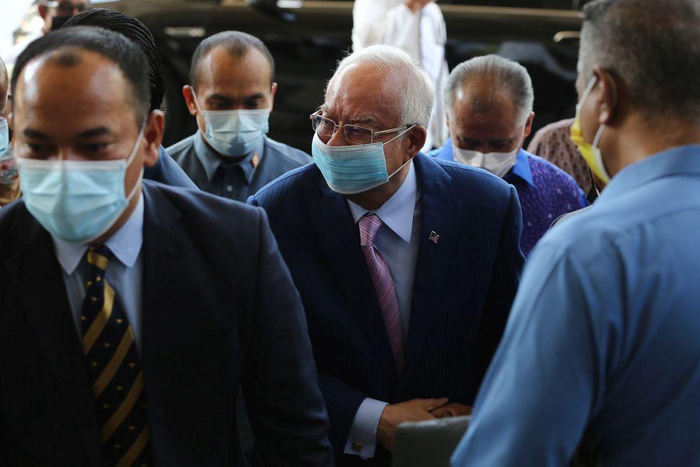 Datuk Seri Najib Razak is pictured at the Kuala Lumpur High Court March 11, 2021. — Picture by Yusof Mat isa