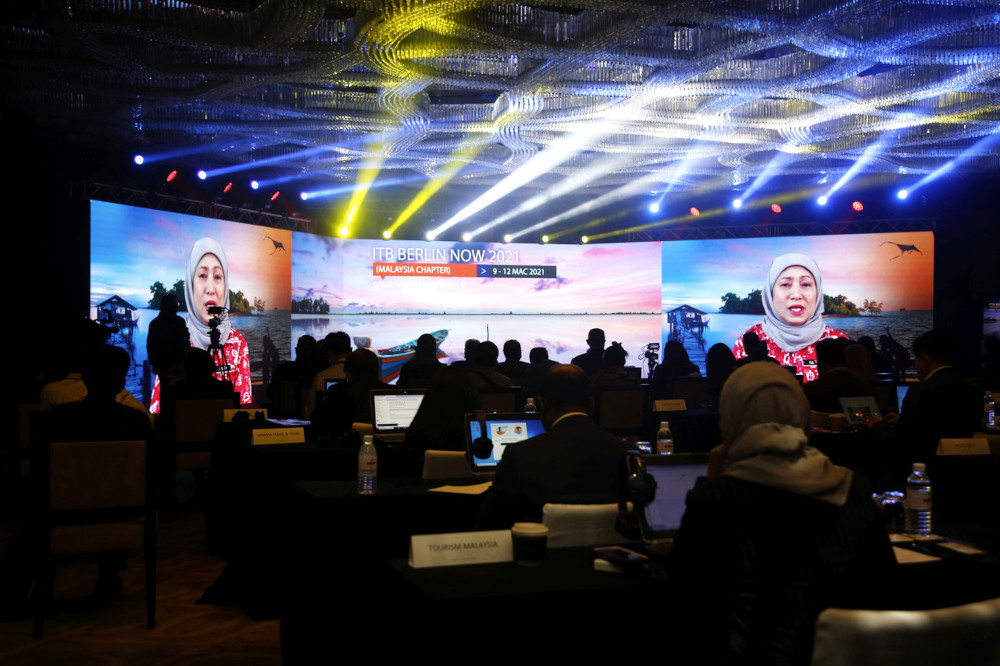 Tourism, Arts and Culture Minister Datuk Seri Nancy Shukri delivers a speech during the ITB Berlin Now 2021 (Malaysia Chapter) launch in Kuala Lumpur, March 9, 2021. — Bernama pic