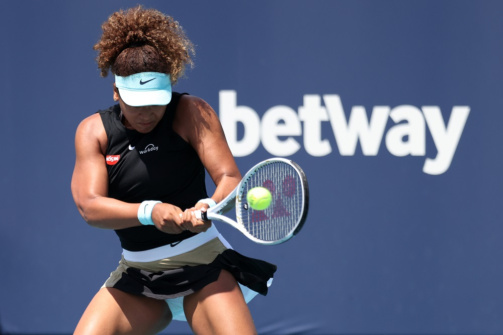 Japan's Naomi Osaka (pic) hits a backhand against Australia's Ajla Tomljanovic in the second round in the Miami Open at Hard Rock Stadium March 26, 2021. ― Geoff Burke-USA TODAY Sports pic via Reuters