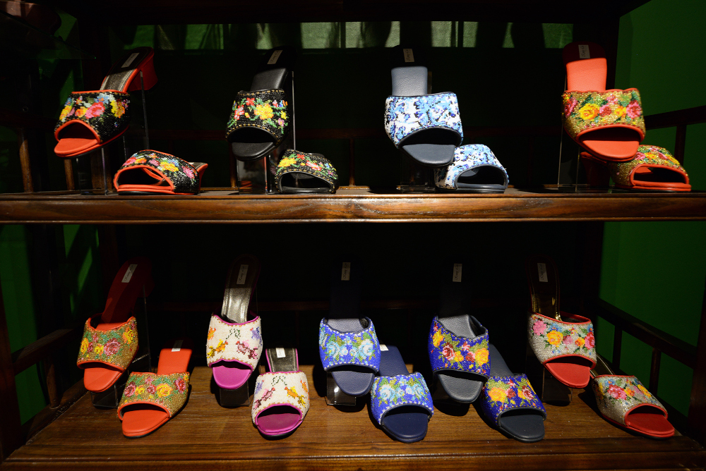 Various types of hand-sewn Nyonya shoes by Kenny on display for sale. — Picture by Steven Ooi KE