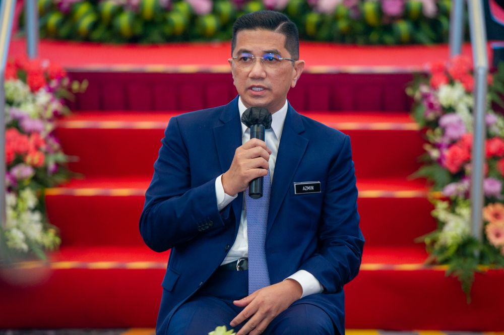 Minister of International Trade and Industry Datuk Seri Mohamed Azmin Ali speaks to reporters at the Putrajaya International Convention Centre March 1, 2020. — Picture by Shafwan Zaidon