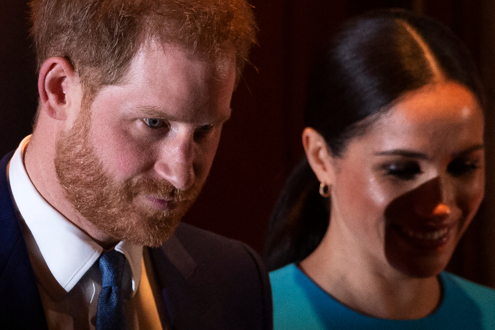 Britain's Prince Harry, Duke of Sussex, and Meghan, Duchess of Sussex leave after attending the Endeavour Fund Awards at Mansion House in London, March 5, 2020. — AFP pic