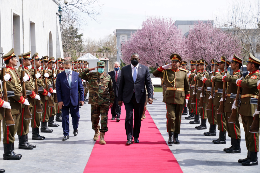 US Secretary of Defence Lloyd Austin walks during his visit in Kabul March 21, 2021. — Presidential Palace handout pic via Reuters