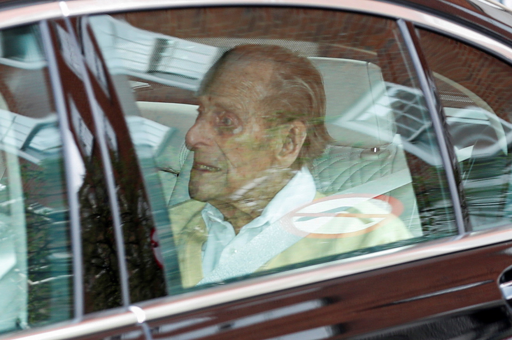 Britain's Prince Philip leaves King Edward VII's Hospital in London March 16, 2021. — Reuters pic