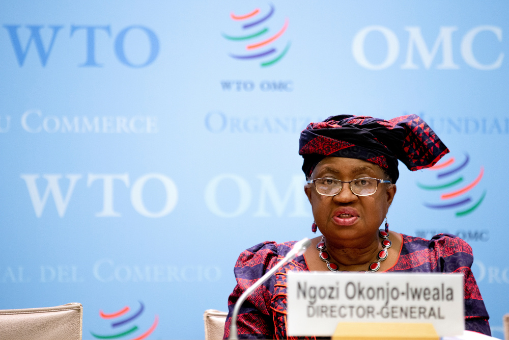 World Trade Organisation Director-General Ngozi Okonjo-Iweala speaks during a press conference remotely on the annual global WTO trade forecast in Geneva March 31, 2021. — Salvatore Di Nolfi/Pool pic via Reuters