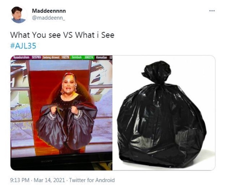 The balloon sleeves on Sherry's black gown reminded many of garbage bags and bean bags. — Pictures from Unsplash, Instagram/Muzik Muzik