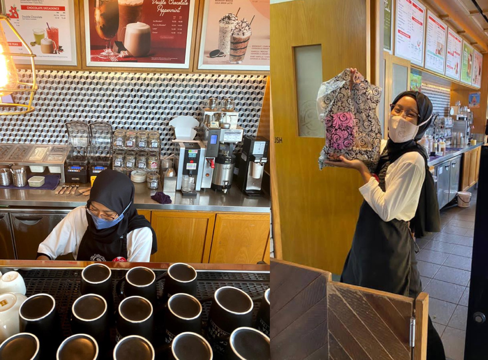 Anisa saw an opportunity to become a barista after flights were grounded due to the pandemic last year. — Picture courtesy of AirAsia