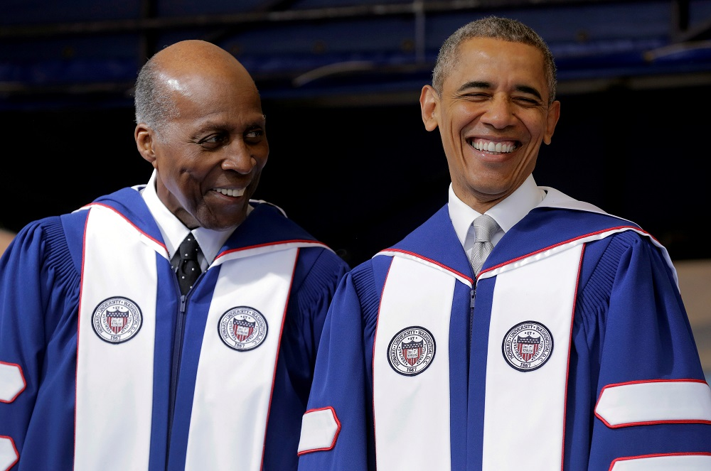 Vernon Jordan (left) seen here with former US president Barack Obama at Howard University in Washington May 7, 2016. ― Reuters file pic