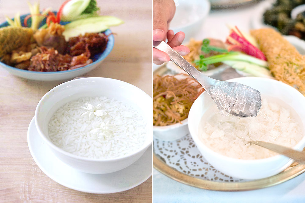 The rice is served in flower-scented water (left) and often ice cubes too (right).