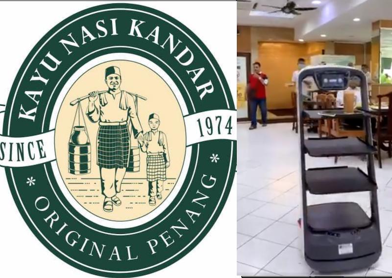 Local eatery, Original Penang Kayu Nasi Kandar is taking a step to the future by introducing contactless robot servers. — Screenshot from Twitter/Darleen Zakir and Facebook/Original Penang Kayu Nasi Kandar