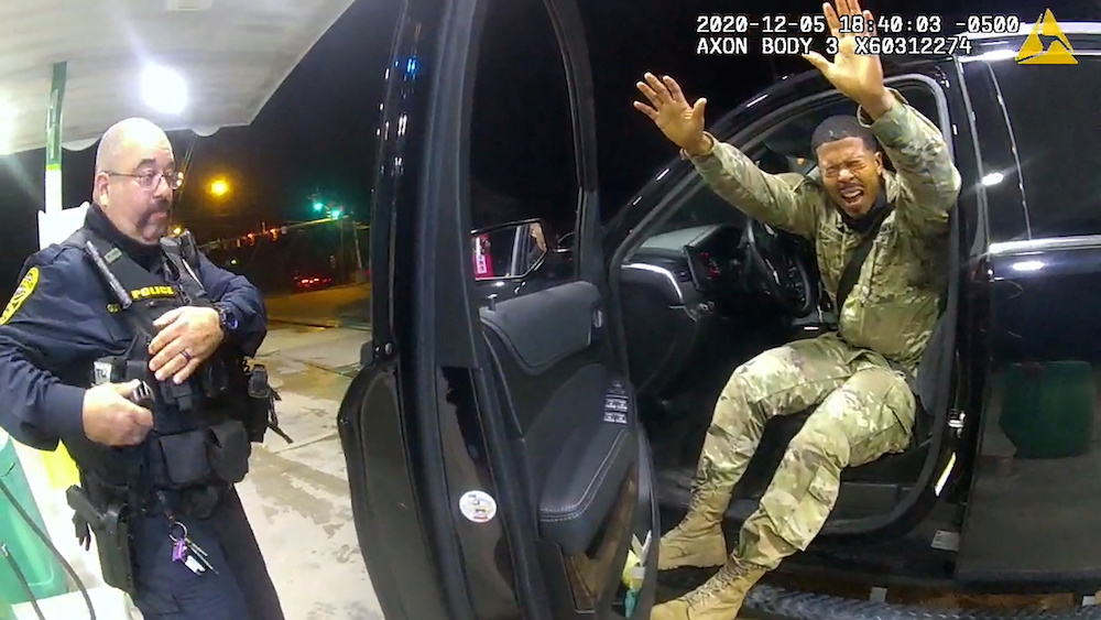 US Army 2nd Lieutenant Caron Nazario exits his vehicle after being sprayed with a chemical agent by Windsor police officer Joe Gutierrez in a still image from officer Daniel Crocker's body camera, Windsor, Virginia May 12, 2020. — Windsor Police handout