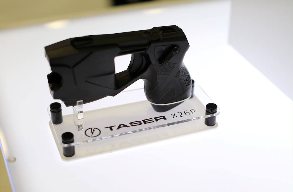 An X26P Taser gun is shown on display at the Taser booth during the International Association of Chiefs of Police conference in San Diego, California, US October 17, 2016. — Reuters pic