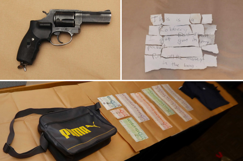 The man's firearm (top left), the note the man passed to the shop staff (top right), and the bag the man was carrying as well as the stolen cash (bottom). — Pictures from TODAY and Singapore Police Force
