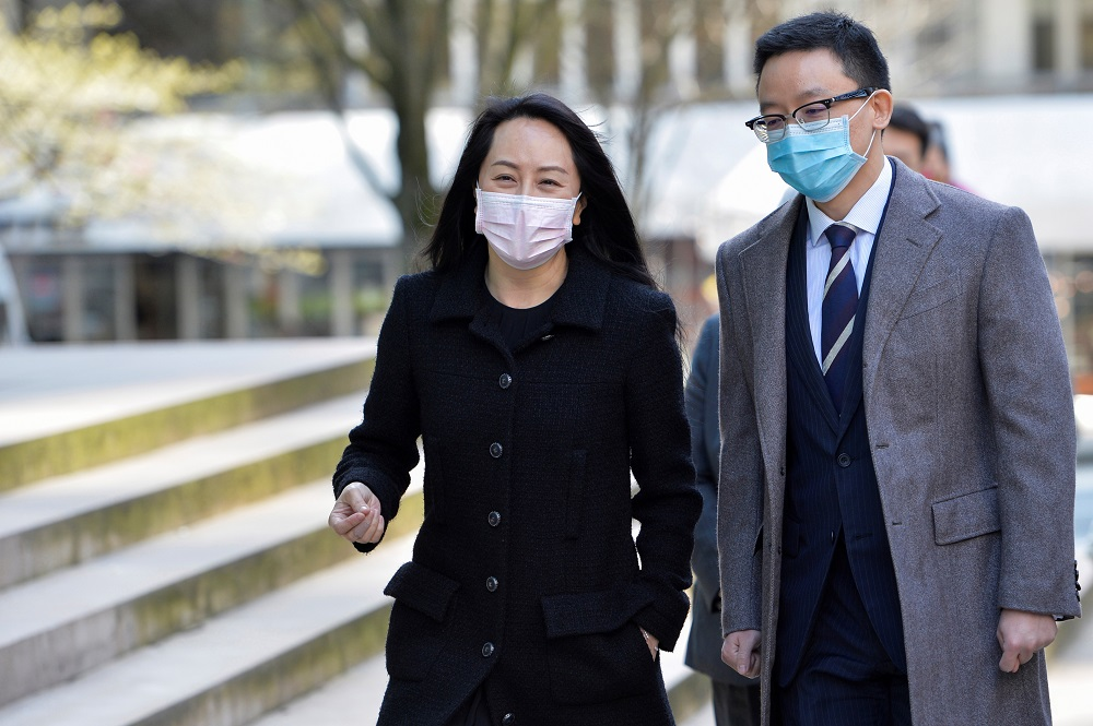 Huawei Technologies Chief Financial Officer Meng Wanzhou returns to court following a break in Vancouver March 29, 2021. — Reuters pic